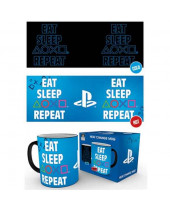 PlayStation Heat Change hrnček Eat Sleep Repeat
