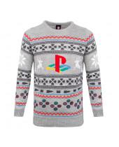 PlayStation vianočný sveter - šedý