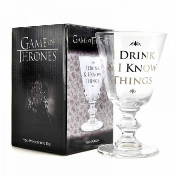 Game of Thrones vínový pohár I Drink and I Know Things